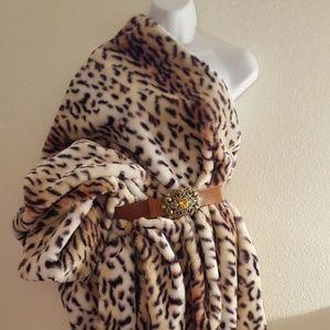 Tribal Cheetah Print Unisex Poncho MIdi Maxi Coat